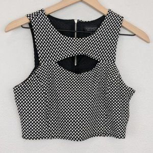 Topshop black polka dotted cut-out crop tank top 8